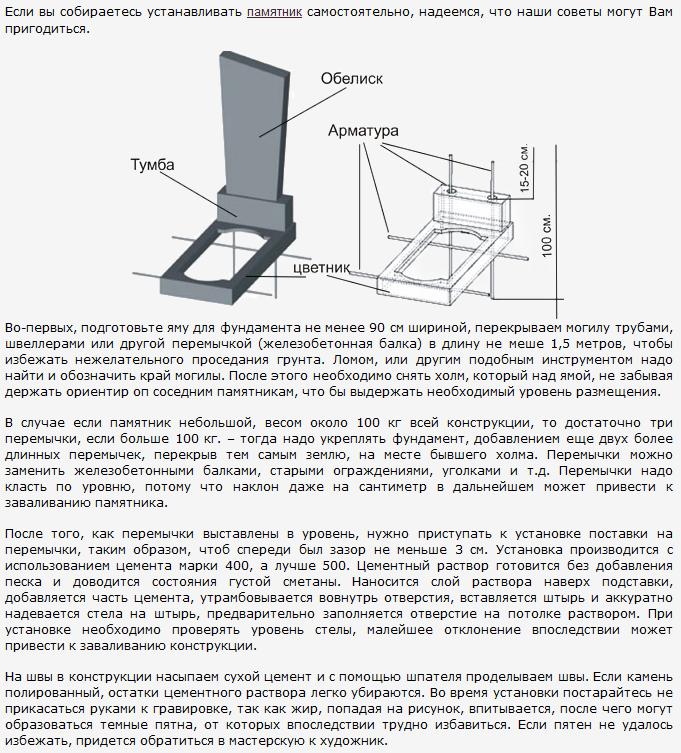 Как установить памятник своими руками: инструкция 16